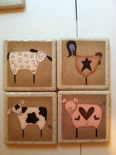Primitive Farm Animals - Cow, Rooster, Sheep & Pig Print Ceramic Tile Coasters. $15.00, via Etsy.