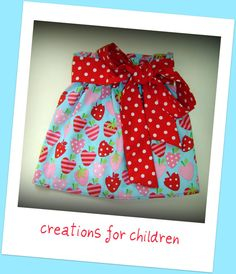 Strawberry girls skirt with sash and FREE by creationsforchildren
