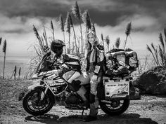 BMW TOURATECH Girl... love how much is on the bike... lol