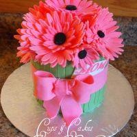 Pink sunflower giant cupcake cake