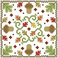 Cross-stitch Fall biscornu, part 1 ... no color chart available, just use the pattern chart as your color guide.. or choose your own colors...     The Floss Box | Biscornu 635 Pdf pattern