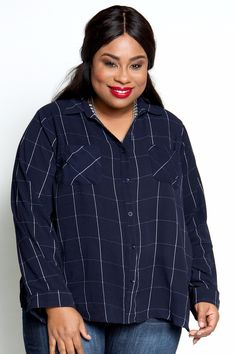 062fd7cacde Plus Size Clothing for Women - Collared Pocket Top by Sabrina Servance -  Navy (Sizes 16 - - Society+ - Society Plus - Buy Online Now!