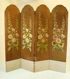 screen room divider folding antique vintage backdrop