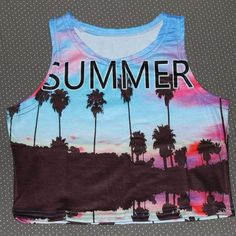 Women summer crop top printed Sexy lady loved design bird pineapple palm tree chile letter beach dog cotton blends fabric