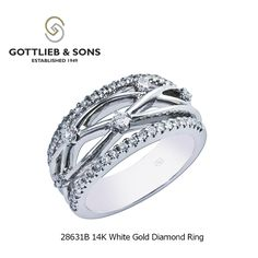 This 14K White Gold Diamond ring is modern classic.  This #diamond ring features round shared prong set diamonds in a glamorous criss cross design. Visit your local #GottliebandSons retailer and ask for style number 28631B. http://www.gottlieb-sons.com/product/detail/28631B