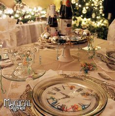 A Kiss at Midnight: A New Year Celebration  Spending New Years Eve at home doesn't mean you can't celebrate and bring in the new year with style!   #New #year #celebrate #celebration #clock #Day #decor #dining #dinner #eve #kiss #midnight #place #plate #setting #silver #table #tablescape #brunch #magicalgiggles