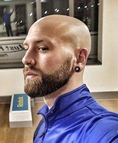 Bald Beard Styles, Bald Men Style, Bald Men With Beards, Bald With Beard, Shaved Head With Beard, Shaved Heads, Bald Boy, Skinhead Men, Stretched Lobes