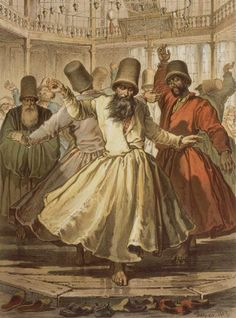 'Amedeo Preziosi, Dancing Dervishes in Galata Mawlawi House Watercolour, Ottoman Empire' by MotionAge Media Istanbul, Sufi Saints, Empire Ottoman, Whirling Dervish, North Africa, Islamic Art, Illustration, Mystic, Sketches