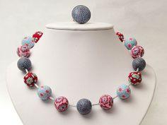 necklace Februar, milleifori, fimo, beads, Handgefertigte Kette aus Polymer Clay von polymerdesign