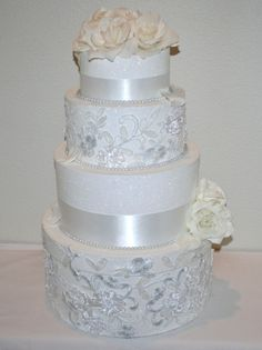 Formal Lace Wedding Card Reception Box - 4 tier