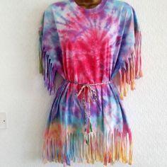 New Tie Dye 90s Fringe Beach Cover Up  Dress T-Shirt Ibiza Festival 8 10 12 14 Tie Dye Crop Top, Dye T Shirt, Beach Covers, Tye Dye, Ibiza, Diys, Cover Up, Crop Tops, Clothing