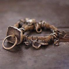 natural linen bracelet sterling silver