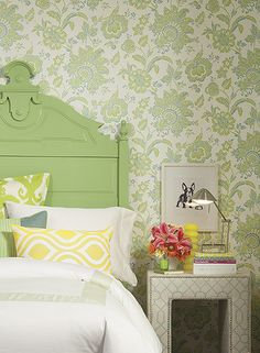 Arabella Wallpaper in Green and Aqua design by York Wallcoverings