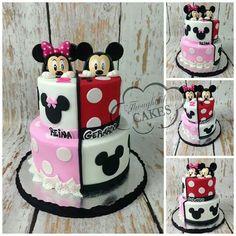 Mickey n Mini – birthdaycakeideas Mini Y Mickey, Bolo Mickey E Minnie, Mickey Cakes, Mickey Mouse Cake, Twin Birthday Parties, Elmo Birthday, Dinosaur Birthday, Cake Original, Pastel Mickey