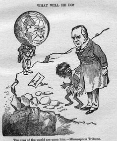 """""""The eyes of the world are upon him."""" In this 1898 U.S. political cartoon. President William McKinley is shown holding the Philippines, depicted as a native child, as the world looks on. The implied options for McKinley are to keep the Philippines, or give it back to Spain, which the cartoon compares to throwing a child off a cliff.Source: Minneapolis Tribune"""
