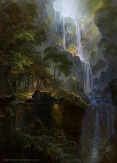 Ruins of the Falls by Snowskadi #Ruins #FantasyArt #FantasyScapes