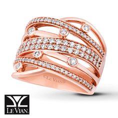 LeVian Ring 3/4 ct tw Diamonds 14K Strawberry Gold I loooooooove this!