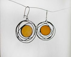 Galaxy earrings Yellow Jewelry Stained Glass Unique от ArtKvarta