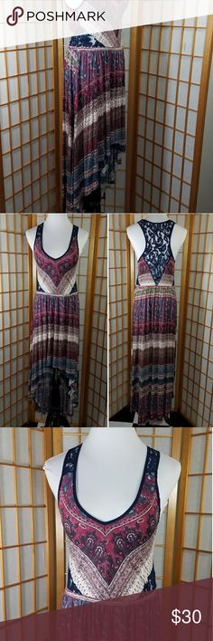 """Ecoté lace back high low v-neck maxi dress Ecoté (Urban Outfitters) racerback lace nack v-neck high low hem maxi dress. Also has lace at sides. *Size tag says large but, this would best fit a small or maybe a medium. Navy blue and dark pinkish red color. Measures 16"""" across from armpit to armpit when laid flat and 13"""" across the waist with approx 2"""" of stretch.  42"""" long from the top of the shoulder to hem in the front and 56"""" long in the back. Ecote Dresses High Low"""
