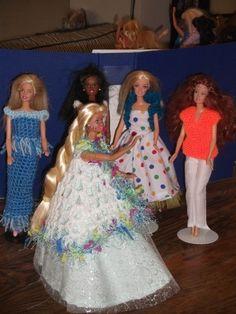 Handmade Outfit for Barbie Doll (nannycheryl original) 1029 Barbie Knitting Patterns, Doll Patterns, Flower Girl Dresses, Prom Dresses, Formal Dresses, Wedding Dresses, Apple Dress, Crochet Barbie Clothes, Purple Outfits