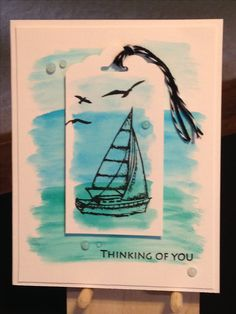 Thinking of You Card - Clearly Gina K. By the Sea 2 Stamp Set - Versafine Onyx Black Ink - Kuretake Zig Clean Color Real Brush - Light Blue, Cobalt Blue, Turquoise Green - Nuvo Jewel Drops Sea Breeze - Stampin' Up Basic Black Twine - Stampin' Up Scalloped Tag Topper Punch - Strathmore Bristol Smooth Cardstock
