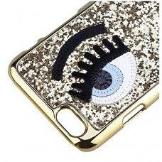iPhone 6 6s Plus 5.5 - Bling Bling Eyelash Hard Protective Phone Cover Case - Gold