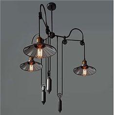 Vintage Pully Pendant Lights 3 Light Island Light Foyer pendants Dinning Pendants Study room Metal+ Galss inside shade