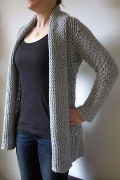 Stockinette Stitch Hooded Cardigan | AllFreeKnitting.com