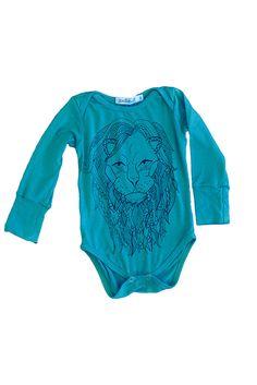 Teal Lion Onesie, LONG SLEEVE