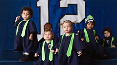 """According to the NFL, nine months after a Super Bowl victory, winning cities see a rise in birth rates. So Seal brought together these """"Super Bowl Babies"""" to recreate one of the greatest love. Baby Voice, Baby Singing, Kids Singing, Baby Music, Cannes, Super Bowl 2016, Seahawks Fans, Seattle Seahawks, Songs"""