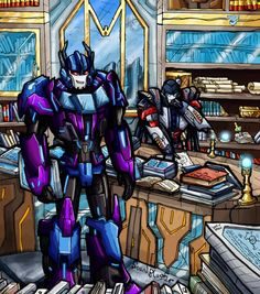 Conspiracy in the Library (SG) by SoundBluster on DeviantArt Transformers Memes, Transformers Characters, Gi Joe, Shattered Glass, Conspiracy, Famous Artists, Fantasy Creatures, Line Art, Character Design