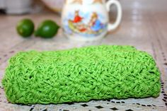 great nubby texture and stitch! How to make a dishcloth