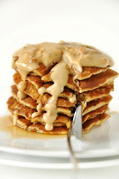 Peanut Butter Flaxseed Pancakes I only ate 3 pancakes but I feel like I ate a dozen! These are so dense and yummy and healthy! I ate mine with some PB, sliced bananas and granola.