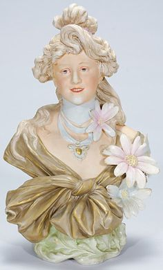 Royal Dux ~Figural  Bust of a Lady ~ Done in Art Nouveau style ~ With applied daisies to her left side ~ Czechoslovakia ~ Circa 1901-1925