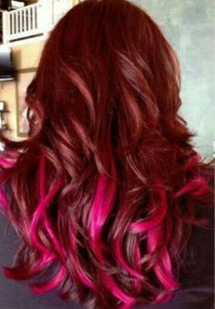 Copper Auburn Hair with Magenta Highlights. This is soo gorgeous! Quinton would kill me if I had pink hair!