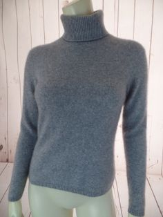 PURSUITS LTD Cashmere Swetaer S Gray Heather Pullover Turtleneck Warm Fuzzy Multi-Knit CHIC!