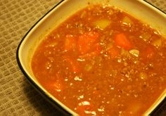 Hamburger Soup: Hearty, Seasonal, GAPS Friendly - Keeper of the Home; skip the tomato Hambuger Soup, Real Food Recipes, Soup Recipes, Beef Bone Broth, Paleo Soup, Gaps Diet, Grass Fed Beef, Soups And Stews, Food For Thought
