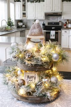 Create this pretty farmhouse Christmas tray in less than 30 minutes. Quick and easy Christmas decorating with a beautiful glow! Create this pretty farmhouse Christmas tray in less than 30 minutes. Quick and easy Christmas decorating with a beautiful glow! Farmhouse Christmas Decor, Christmas Kitchen, Outdoor Christmas, Rustic Christmas, Simple Christmas, Christmas Home, Christmas Crafts, Beautiful Christmas, Silver Christmas Decorations