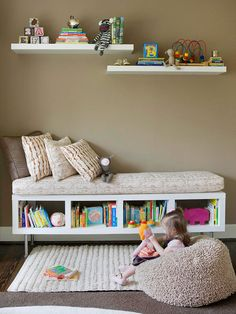 Storage for Kids: long bookcase with legs and a cushion makes a great reading bench