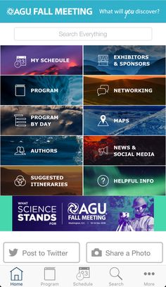 Great custom home screen example of a scientific app for a massive conference with over presentations.