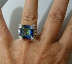 "5/8""Sq. Mystic Fire Rainbow Topaz Size 8.5 Gem 925 Silver Ring #help #retweet #follow #repin http://stores.ebay.com/jewelryandthingsroseandersen5?_rdc=1Jewelry R-000 #Unbranded #Statement"