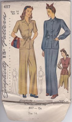 40s Iconic Women Work Clothes Slacks Blouse Size 14 Bust 32 Vintage Sewing Pattern Simplicity 4117 Complete