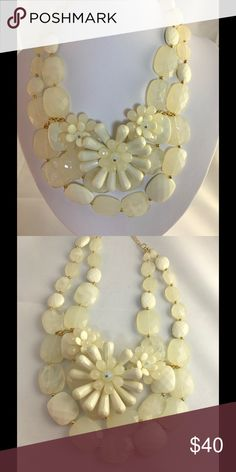 "White Resin Acrylic Statement Necklace • Color : White • Theme : Flower & Leaf  • Necklace Size : 16"" + 3"" L • White Resin Acrylic Statement Necklace NYC Chic Accessories Jewelry Necklaces"