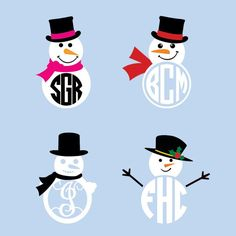 Snowman Monogram SVG Cuttable Files                                                                                                                                                                                 More