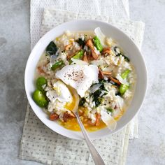 // Spring Vegetable Risotto with Poached Eggs