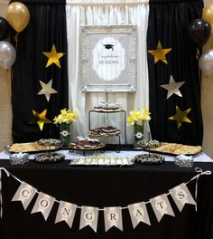 black, white and gold graduation party