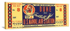 Best Christmas gifts on Pinterest! Best football gifts on Pinterest. 1942 Duke vs. Naval Air Station football ticket canvas art. Perfect game room or office gift! Best Christmas gifts of 2012! http://www.shop.47straightposters.com/