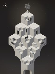 Ida the princess is on a quest for forgiveness. Despite the fragmented ruins of Monument Valley blocking her way, paths can be made, regardless of impossible geometries. A game for iOS and Android, Monument Valley is a isometric puzzle game where … Isometric Art, Isometric Design, Ustwo Games, Monument Valley Game, Penrose Triangle, Video Game Art, Video Games, Game Design, Illusions