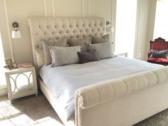 **(Master Bedroom)- Restoration Hardware bed, bedding, night tables, sconces, lumbar pillow. Schumacher euro shams.