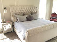 **(Master Bedroom)- Restoration Hardware bed, bedding, night tables, sconces, lumbar pillow. Schumacher euro shams.